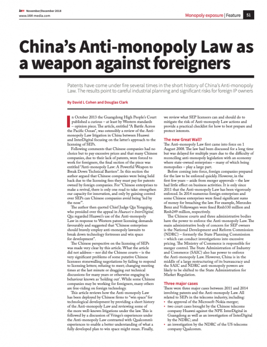 China's Anti-monopoly Law as a weapon against foreigners
